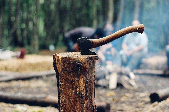 Spaltaxt auf Baumstumpf
